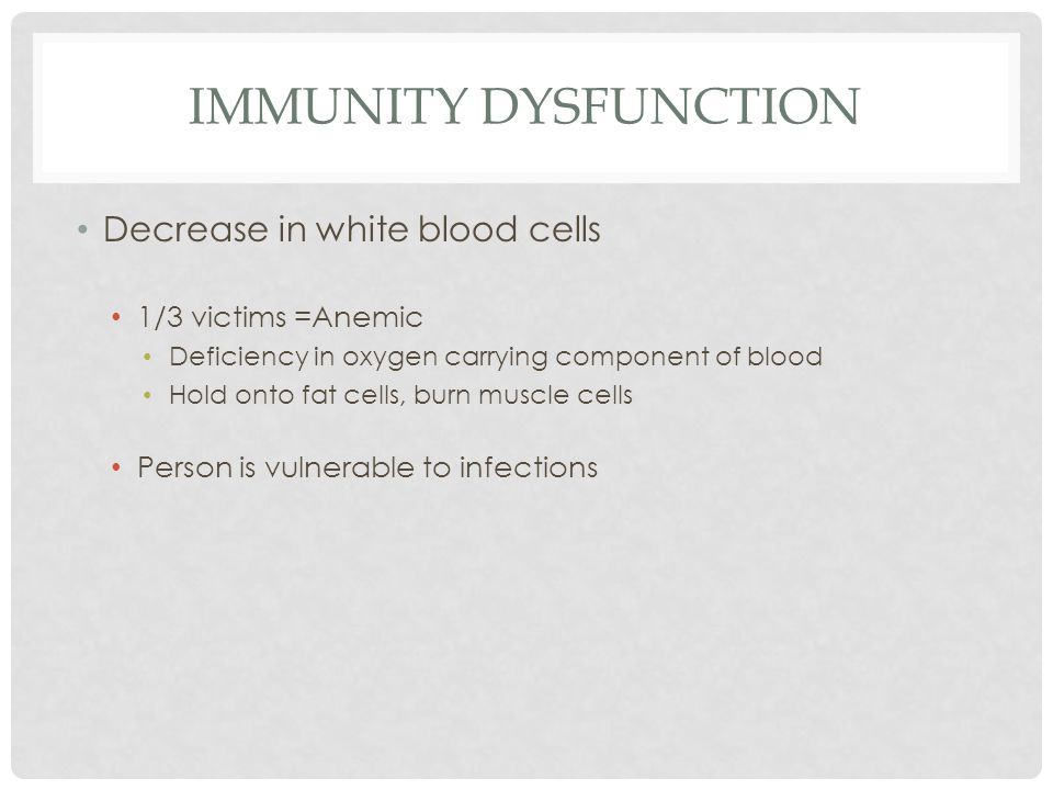 IMMUNITY DYSFUNCTION Decrease in white blood cells 1/3 victims =Anemic Deficiency in oxygen carrying component of blood Hold onto fat cells, burn muscle cells Person is vulnerable to infections