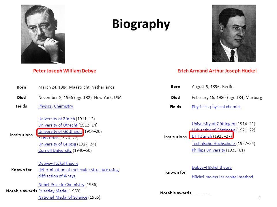 Biography Peter Joseph William Debye BornMarch 24, 1884 Maastricht, Netherlands DiedNovember 2, 1966 (aged 82) New York, USA FieldsPhysicsPhysics, Che