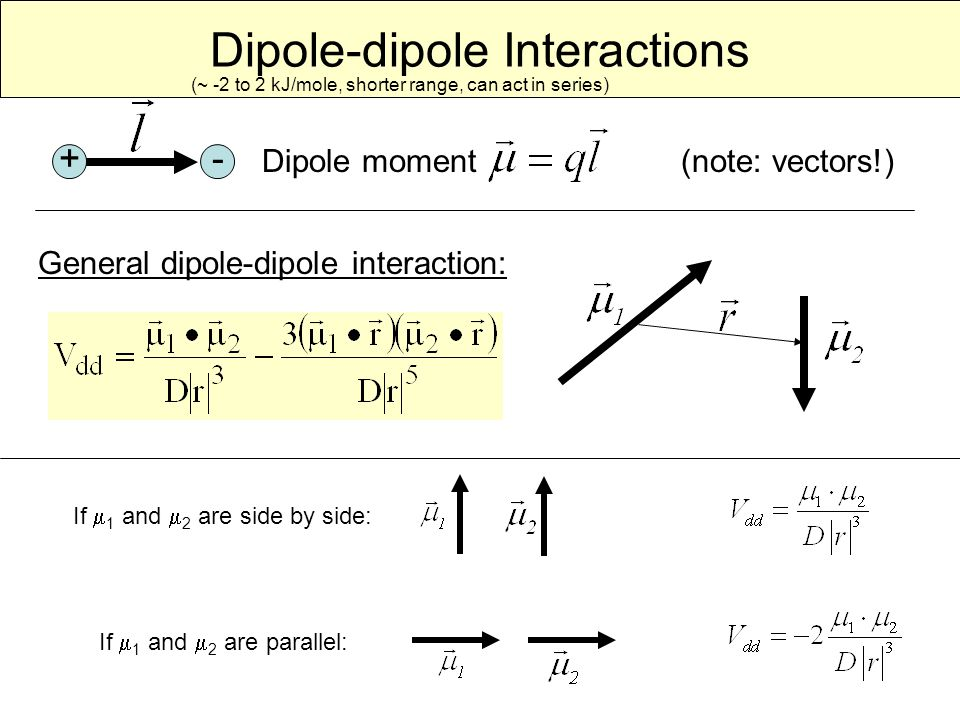 Dipole-dipole Interactions Dipole moment (note: vectors!) +- General dipole-dipole interaction: If  1 and  2 are side by side: If  1 and  2 are parallel: (~ -2 to 2 kJ/mole, shorter range, can act in series)