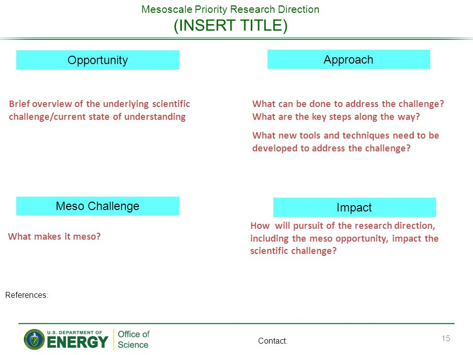 Mesoscale Priority Research Direction (INSERT TITLE) Opportunity Meso Challenge Approach Impact What can be done to address the challenge? What are th