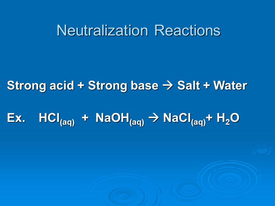 Neutralization Reactions Strong acid + Strong base  Salt + Water Ex. HCl (aq) + NaOH (aq)  NaCl (aq) + H 2 O