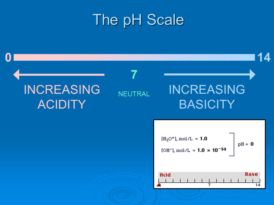 The pH Scale 0 7 INCREASING ACIDITY NEUTRAL INCREASING BASICITY 14