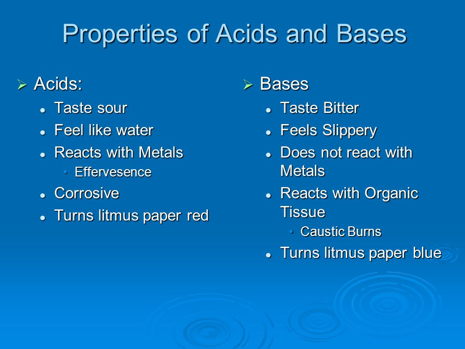 Properties of Acids and Bases  Acids: Taste sour Taste sour Feel like water Feel like water Reacts with Metals Reacts with Metals EffervesenceEfferve