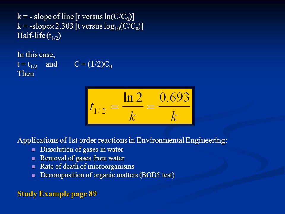 k = - slope of line [t versus ln(C/C 0 )] k = -slope  2.303 [t versus log 10 (C/C 0 )] Half-life (t 1/2 ) In this case, t = t 1/2 andC = (1/2)C 0 The