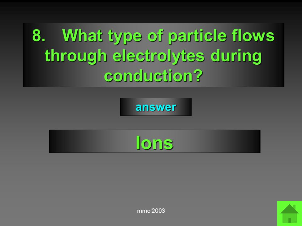 mmcl2003 7.Describe how electrolytes conduct electricity The movement of ions to electrodes answer