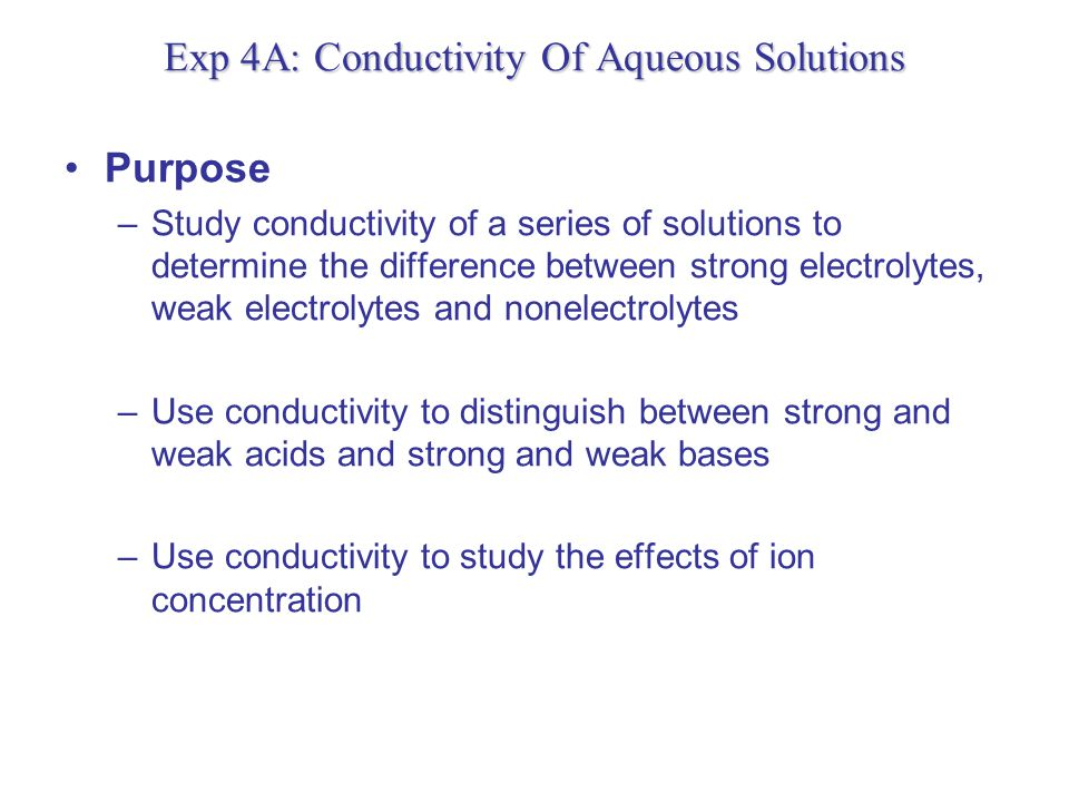 Conductivity of Solutions The conductivity (or specific conductance) of an electrolyte solution is a measure of its ability to conduct or allow the passage of electricity.