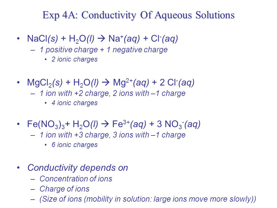 Exp 4A: Conductivity Of Aqueous Solutions Electrolytes conduct electricity http://nvcicourse.accd.edu:8900/SCRIPT/1020720051/scripts/student/serve_page.pl/1020720051/chapter4/animations.html?1118762248+1859016556+OFF+olc/dl/1 71024/4_1_Stg_Wk_Nonelelytes.swf+