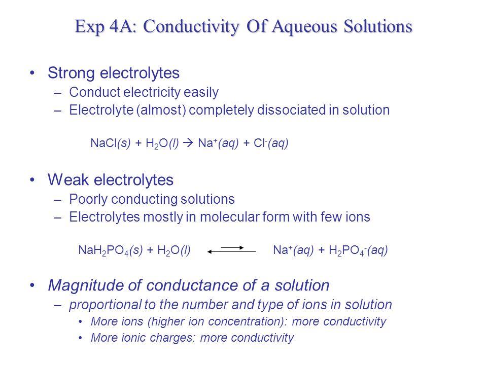 Exp 4A: Conductivity Of Aqueous Solutions Strong Acids –HCl(g) + H 2 O(l)  H + (aq) + Cl - (aq) –HNO 3 (l) + H 2 O(l)  H + (aq) + NO 3 - (aq) Strong Bases –KOH(s) + H 2 O(l)  K + (aq) + OH - (aq) Weak Acids –CH 3 COOH(l) + H 2 O(l) H + (aq) + CH 3 COO - (aq) Weak Bases –NH 3 (g) + H 2 O(l) NH 4 + (aq) + OH - (aq)