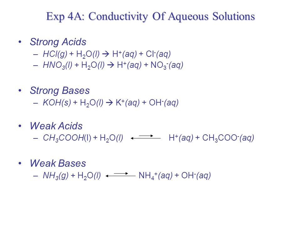 Exp 4A: Conductivity Of Aqueous Solutions Strong and Weak electrolytes Strong Electrolyte Weak Electrolyte