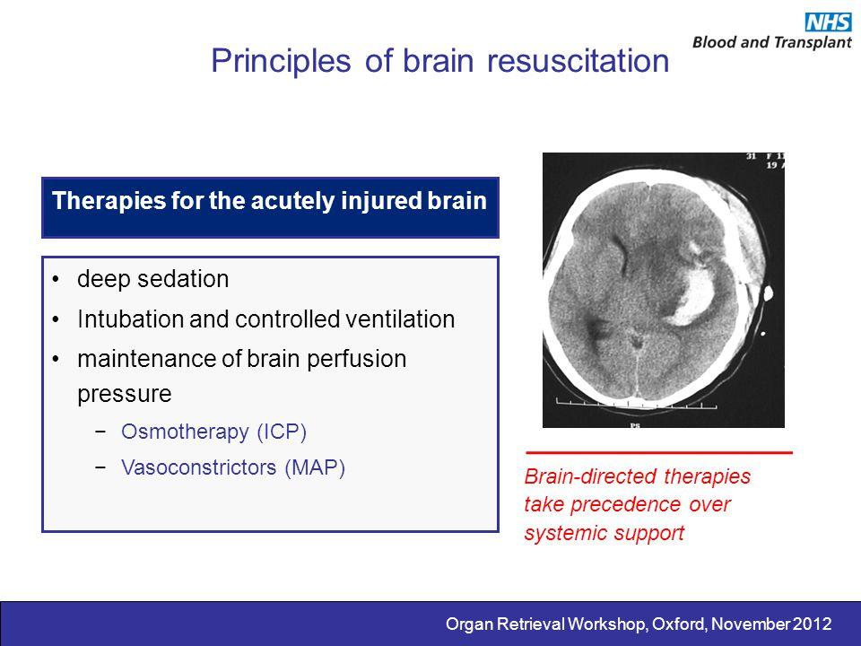 Organ Retrieval Workshop, Oxford, November 2012 Principles of brain resuscitation Therapies for the acutely injured brain deep sedation Intubation and