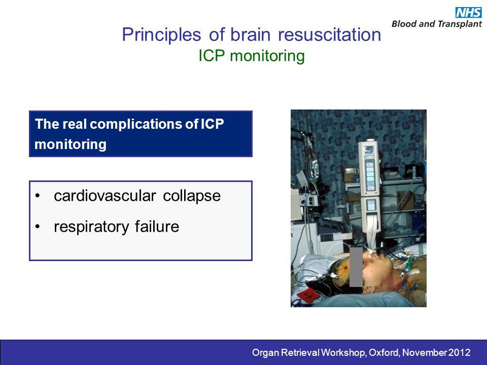 Organ Retrieval Workshop, Oxford, November 2012 Principles of brain resuscitation ICP monitoring The real complications of ICP monitoring cardiovascul