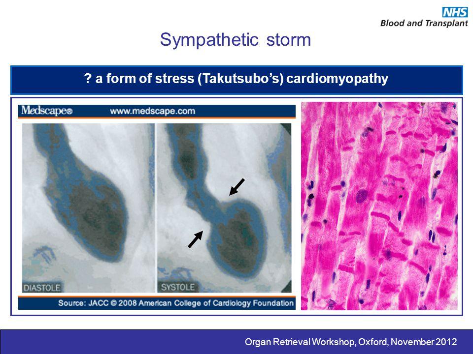 Organ Retrieval Workshop, Oxford, November 2012 Sympathetic storm ? a form of stress (Takutsubo's) cardiomyopathy