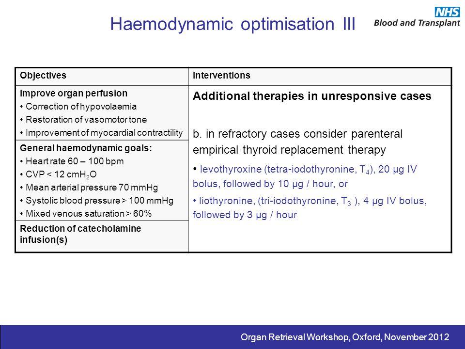 Organ Retrieval Workshop, Oxford, November 2012 Haemodynamic optimisation III ObjectivesInterventions Improve organ perfusion Correction of hypovolaem