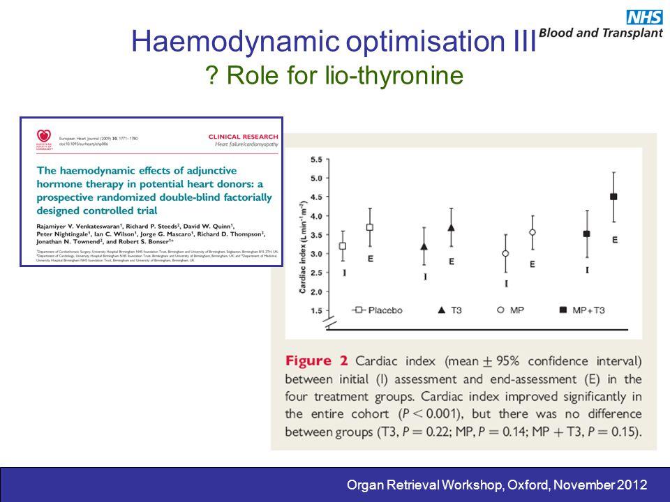 Organ Retrieval Workshop, Oxford, November 2012 Haemodynamic optimisation III ? Role for lio-thyronine
