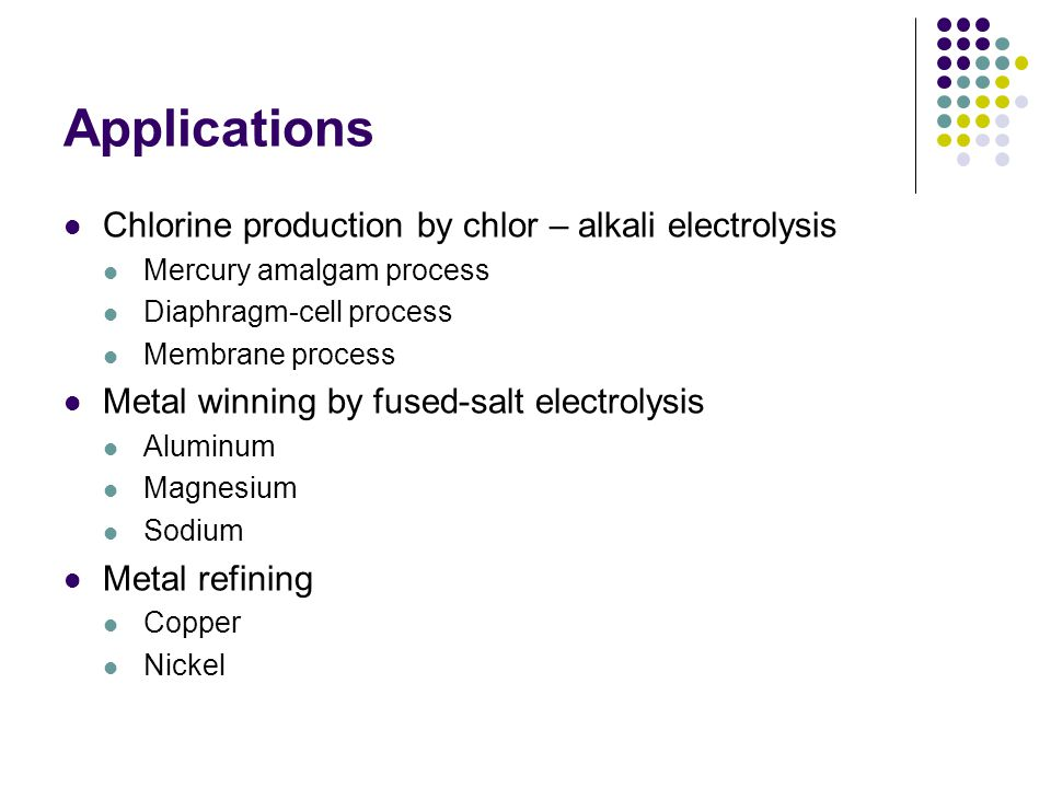 Applications Electrolysis of inorganic materials Electrolysis of water Fluorine production by electrolysis of hydrogen fluoride Production of sodium chlorate by electrolysis of sodium chloride Electrochemical oxidation of sodium chlorate to perchlorate Recovery of persulfuric acid Production of ozone Electrolysis of organic materials Production of adiponitrile from acrylonitride Production of dimenthyl sebacate Reduction of nitrobenzene to aniline