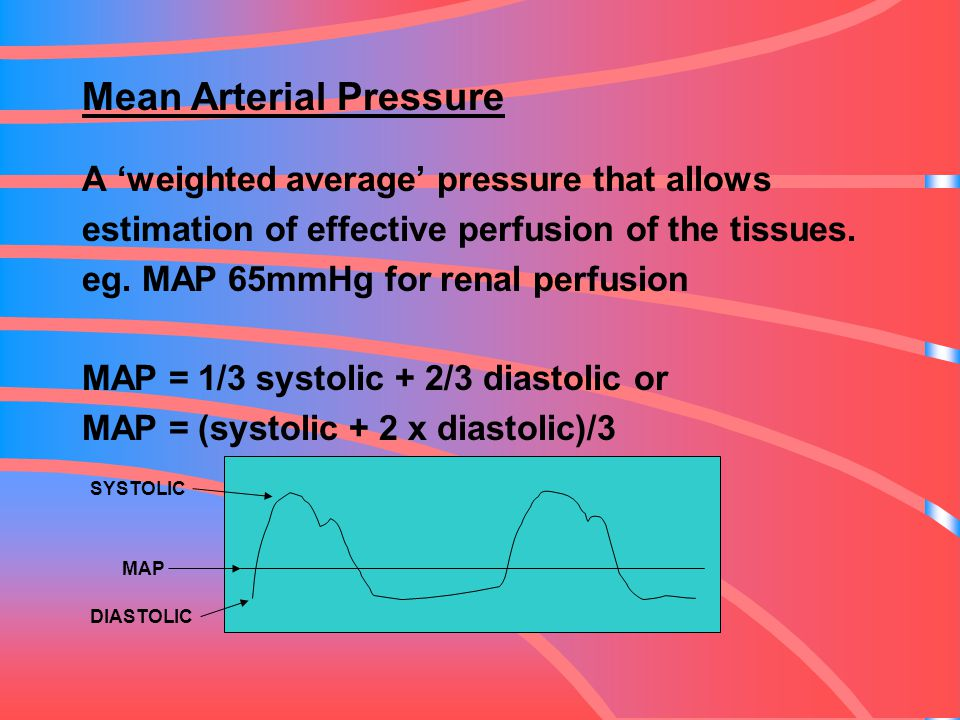 Mean Arterial Pressure A 'weighted average' pressure that allows estimation of effective perfusion of the tissues. eg. MAP 65mmHg for renal perfusion