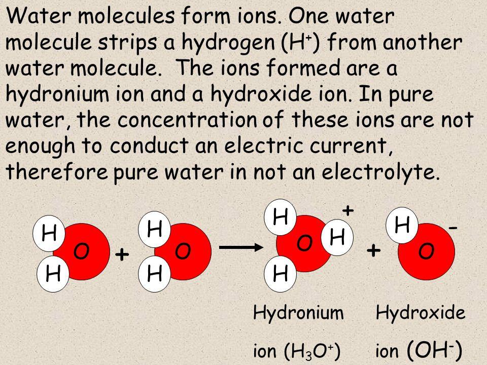 O H H O H H H + + + O H H O H - Water molecules form ions.