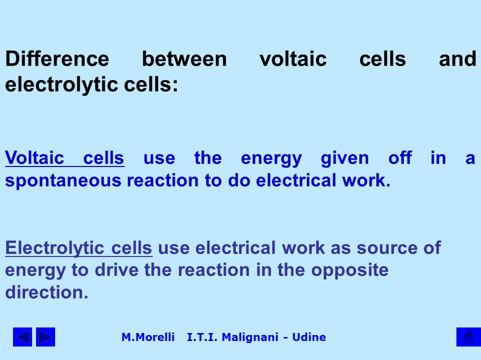 M.Morelli I.T.I. Malignani - Udine Difference between voltaic cells and electrolytic cells: Voltaic cells use the energy given off in a spontaneous re
