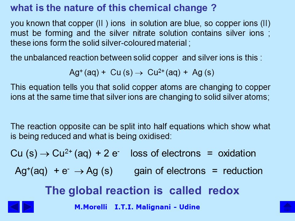 M.Morelli I.T.I. Malignani - Udine what is the nature of this chemical change .