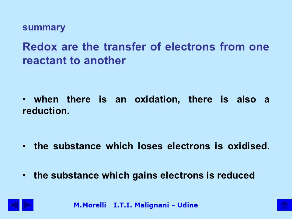 M.Morelli I.T.I. Malignani - Udine summary Redox are the transfer of electrons from one reactant to another when there is an oxidation, there is also