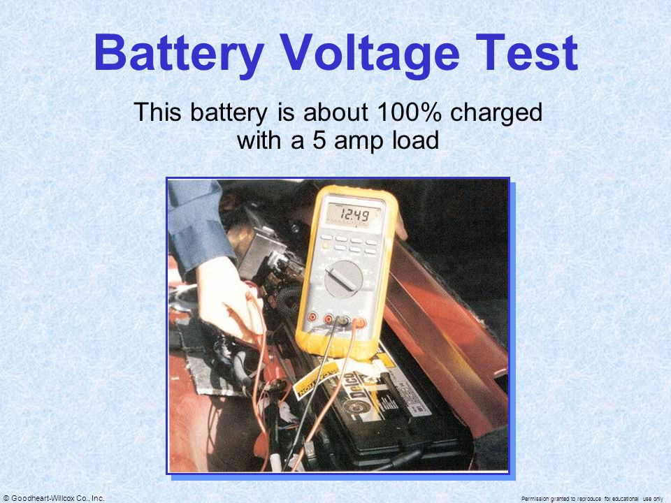© Goodheart-Willcox Co., Inc. Permission granted to reproduce for educational use only Battery Voltage Test This battery is about 100% charged with a
