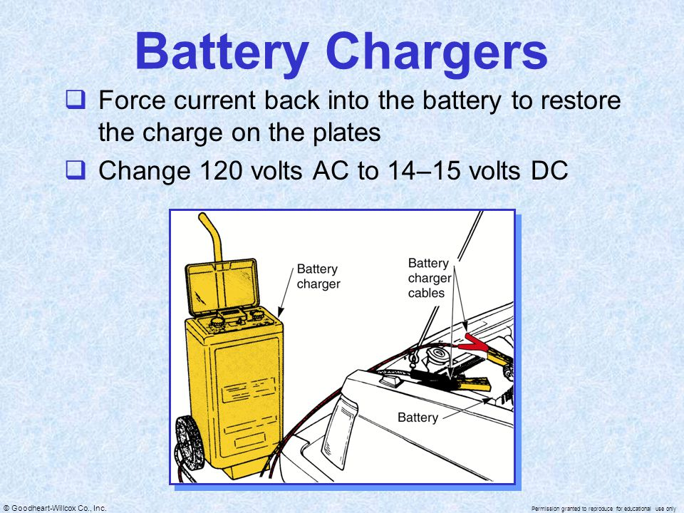 © Goodheart-Willcox Co., Inc. Permission granted to reproduce for educational use only Battery Chargers  Force current back into the battery to resto