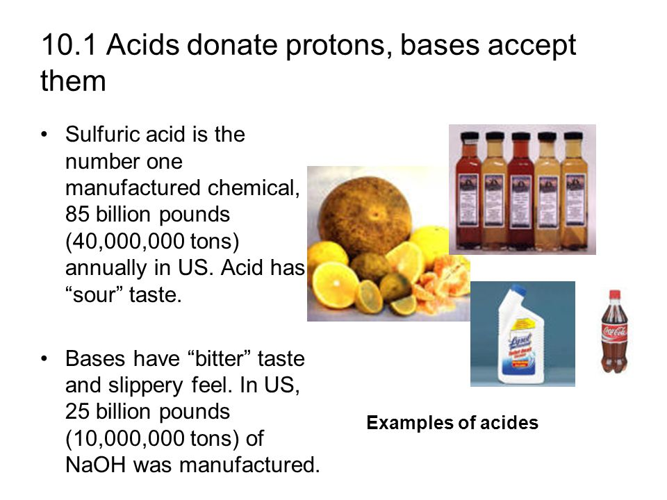 By definition, acids are chemicals that donate hydrogen ions, and bases are chemicals that accept them.