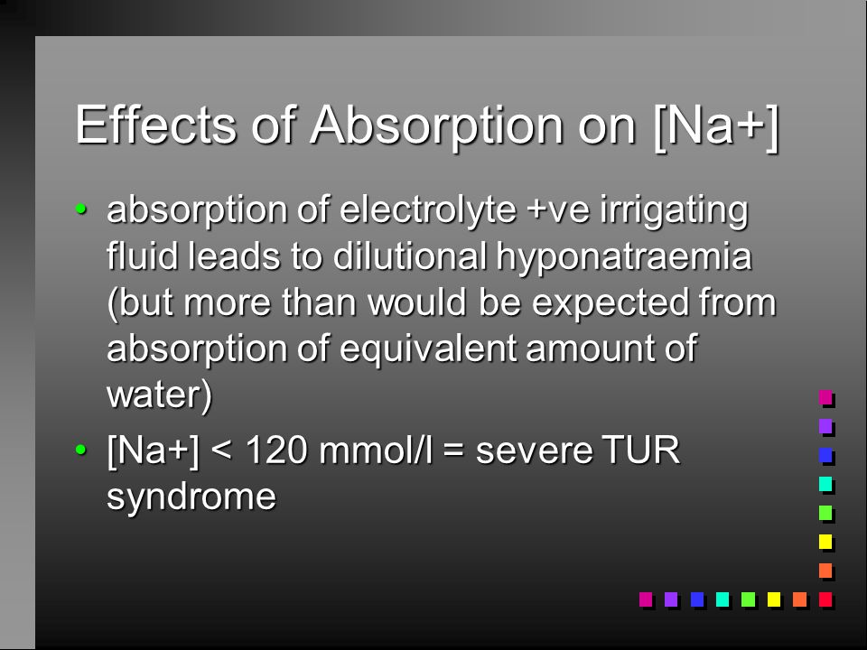Effects of Absorption on [Na+] absorption of electrolyte +ve irrigating fluid leads to dilutional hyponatraemia (but more than would be expected from absorption of equivalent amount of water)absorption of electrolyte +ve irrigating fluid leads to dilutional hyponatraemia (but more than would be expected from absorption of equivalent amount of water) [Na+] < 120 mmol/l = severe TUR syndrome[Na+] < 120 mmol/l = severe TUR syndrome