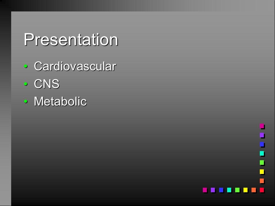 Presentation CardiovascularCardiovascular CNSCNS MetabolicMetabolic
