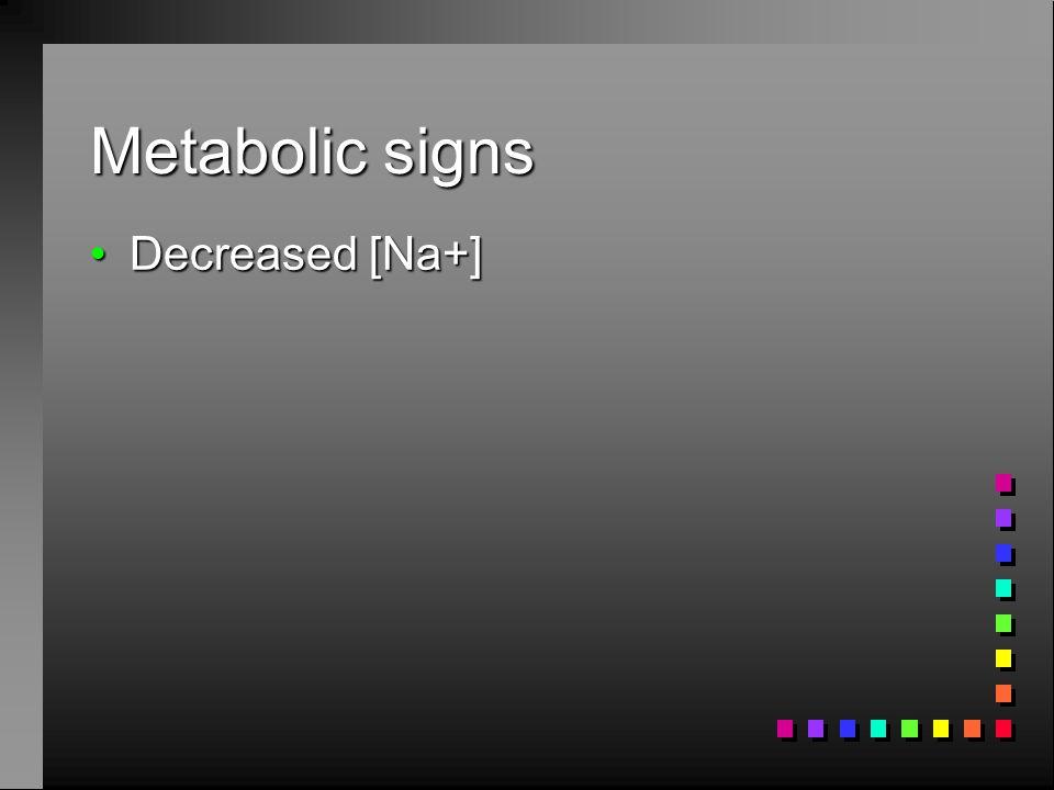 Metabolic signs Decreased [Na+]Decreased [Na+]