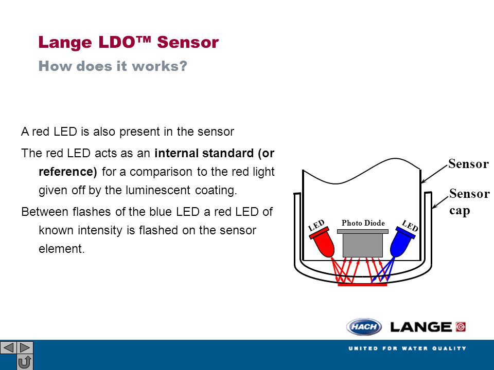 A red LED is also present in the sensor The red LED acts as an internal standard (or reference) for a comparison to the red light given off by the lum
