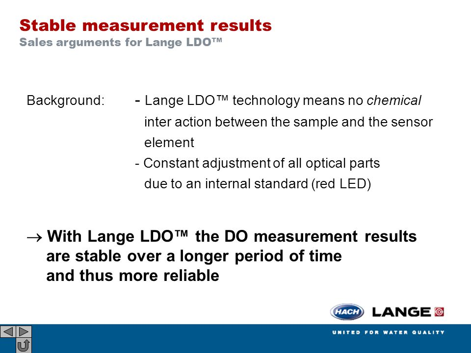 Background: - Lange LDO™ technology means no chemical inter action between the sample and the sensor element - Constant adjustment of all optical part