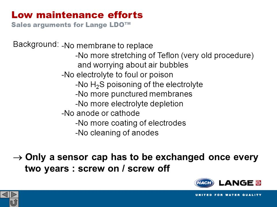 Background:  Only a sensor cap has to be exchanged once every two years : screw on / screw off Low maintenance efforts Sales arguments for Lange LDO™