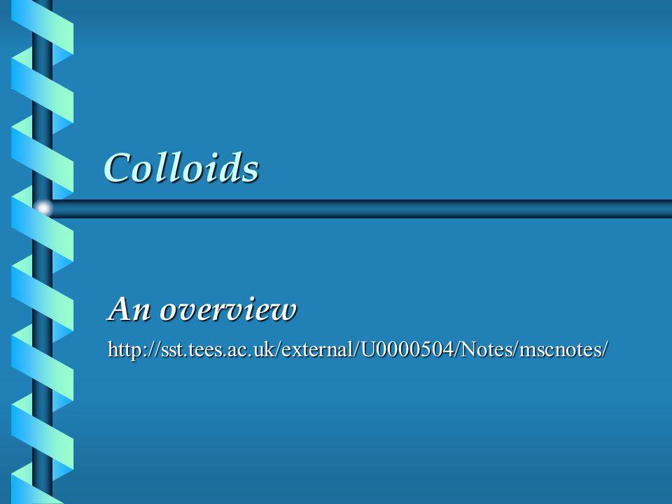 Colloids An overview http://sst.tees.ac.uk/external/U0000504/Notes/mscnotes/