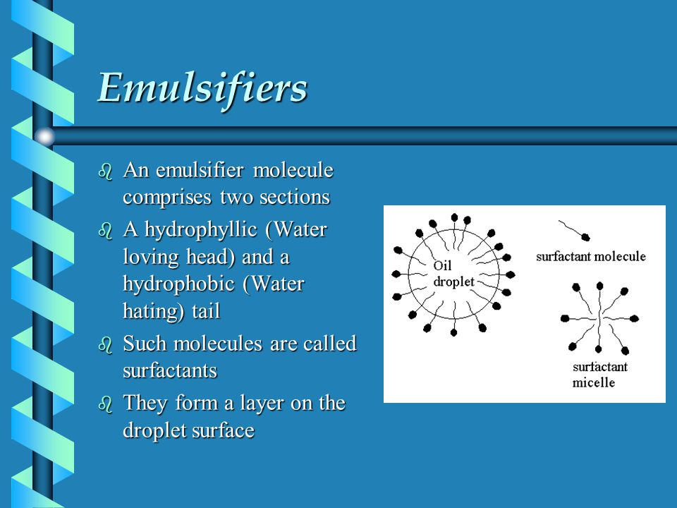 Emulsifiers b An emulsifier molecule comprises two sections b A hydrophyllic (Water loving head) and a hydrophobic (Water hating) tail b Such molecule