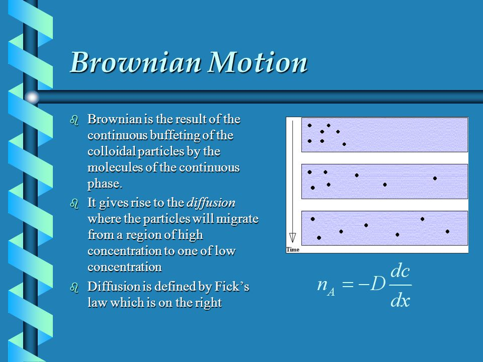 Brownian Motion b Brownian is the result of the continuous buffeting of the colloidal particles by the molecules of the continuous phase. b It gives r