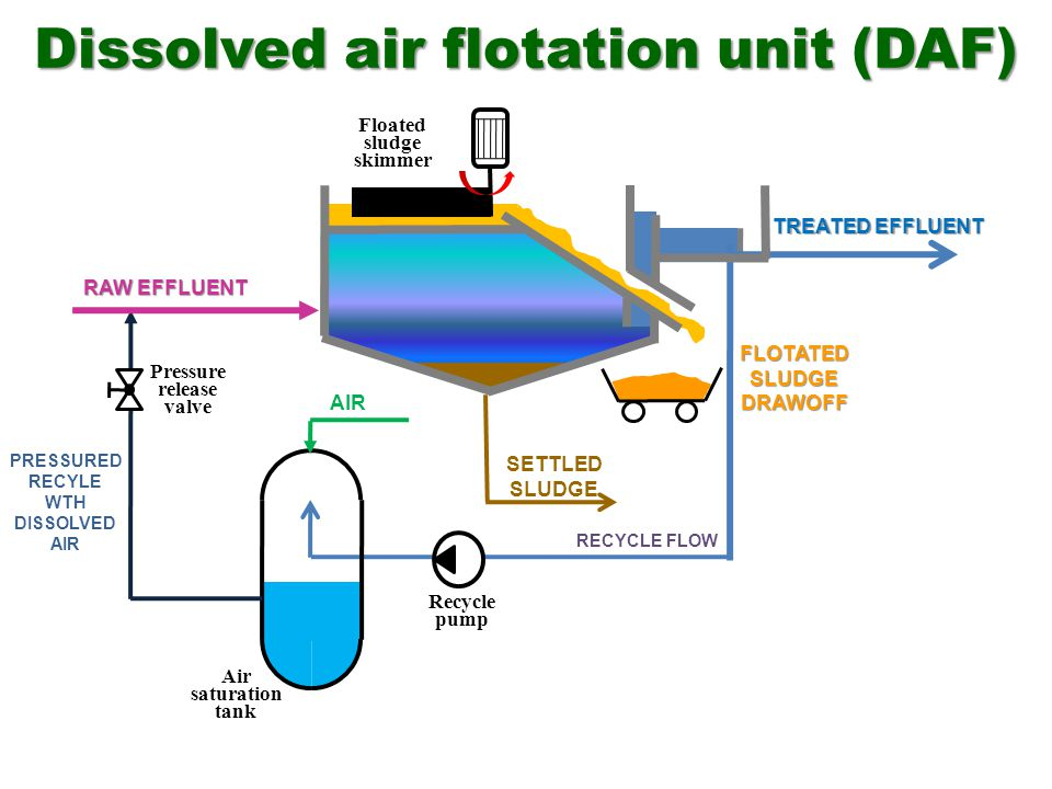 Dissolved air flotation unit (DAF) Air saturation tank Pressure release valve RAW EFFLUENT TREATED EFFLUENT FLOTATEDSLUDGEDRAWOFF RECYCLE FLOW SETTLED