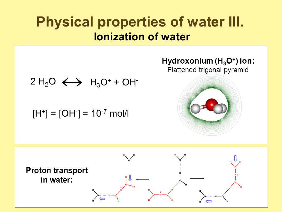 Physical properties of water III.