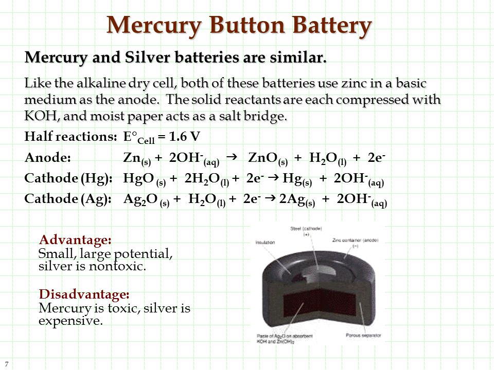 7 Mercury Button Battery Mercury and Silver batteries are similar. Like the alkaline dry cell, both of these batteries use zinc in a basic medium as t