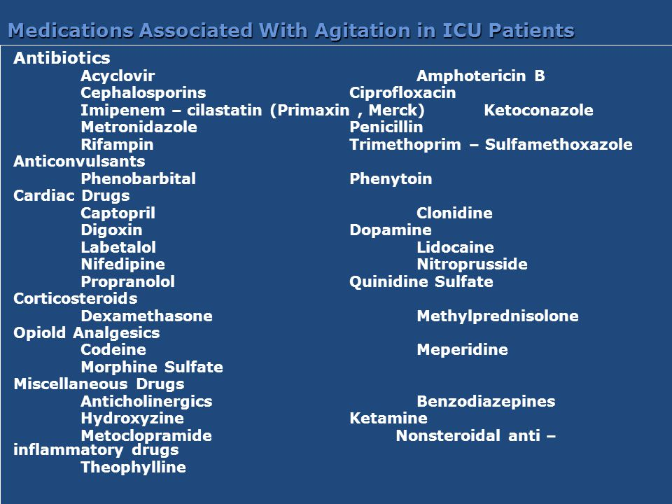 Medications Associated With Agitation in ICU Patients Antibiotics AcyclovirAmphotericin B CephalosporinsCiprofloxacin Imipenem – cilastatin (Primaxin,