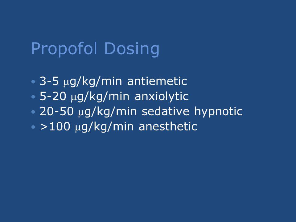 Propofol Dosing 3-5 g/kg/min antiemetic 5-20 g/kg/min anxiolytic 20-50 g/kg/min sedative hypnotic >100 g/kg/min anesthetic