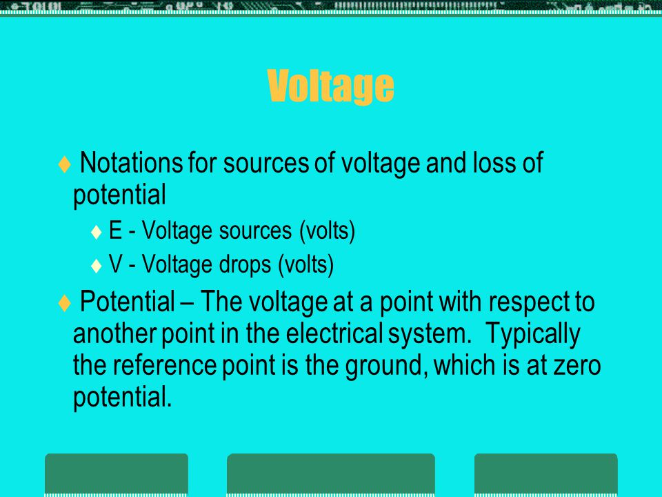 Voltage  Potential difference: The algebraic difference in potential (or voltage) between two points of a network.