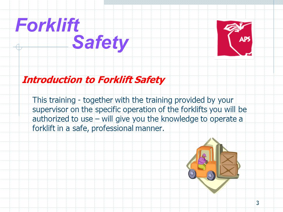 14 Forklift Safety Safe Forklift Operation 1.Stability and Center of Gravity  Support points A, B & C form the stability triangle  Center of gravity is the point at which load is concentrated  If center of gravity remains inside the triangle, the truck won't tip