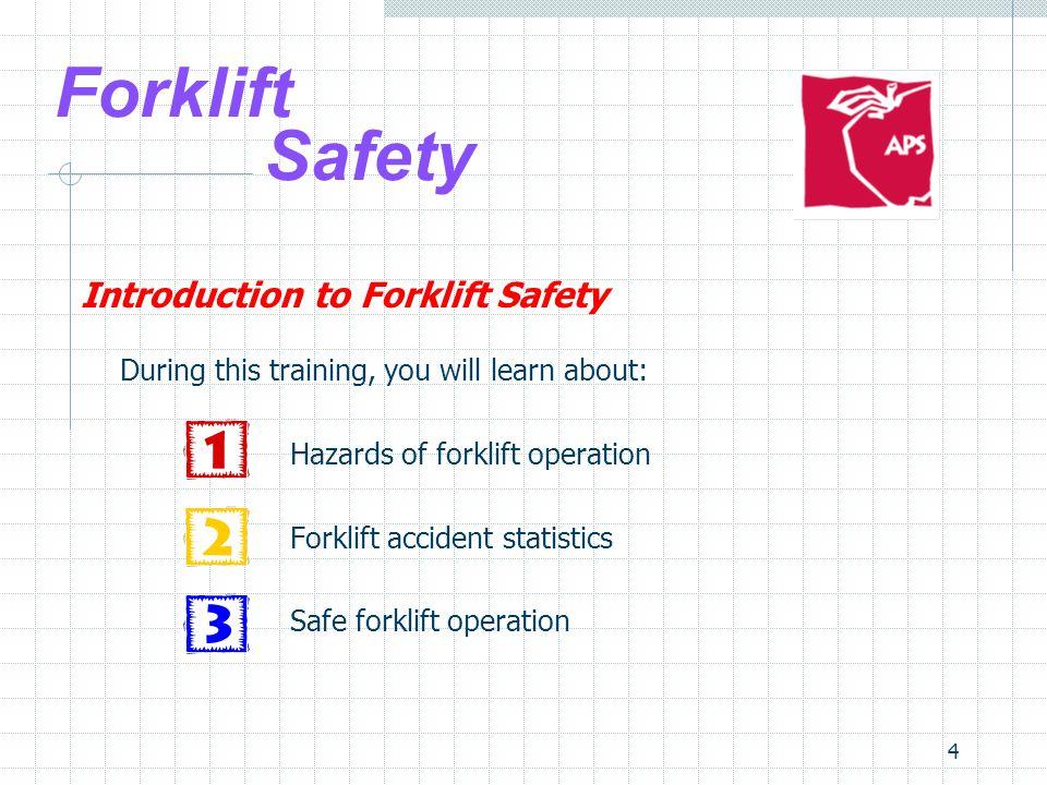 25 Forklift Safety Safe Forklift Operation 5.Inspection – pre- and post-trip:  Brakes  Steering  Controls  Lights & signals  Engine