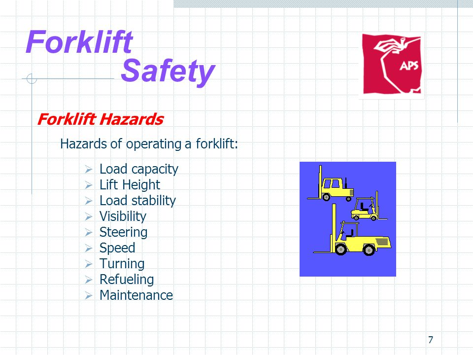 8 Forklift Safety Forklift Hazards Hazards of the environment:  Floors/Surfaces  Pedestrians  Obstacles  Blind spots  Narrow aisles  Intersections  Docks & trailers