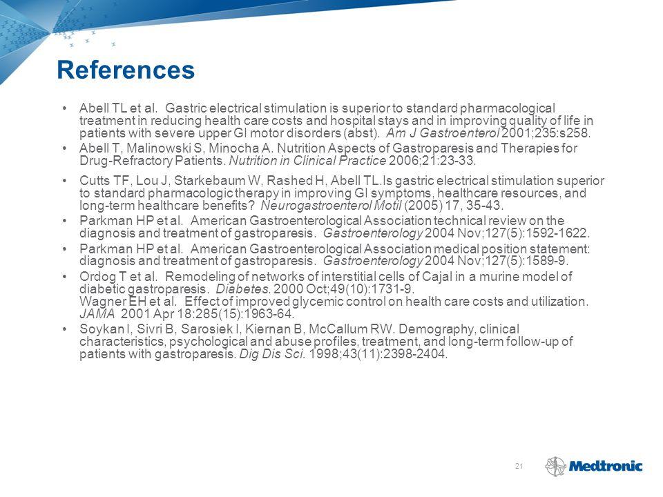 21 References Abell TL et al.