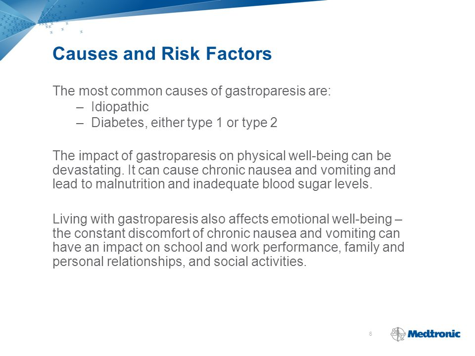 6 Causes and Risk Factors The most common causes of gastroparesis are: –Idiopathic –Diabetes, either type 1 or type 2 The impact of gastroparesis on physical well-being can be devastating.