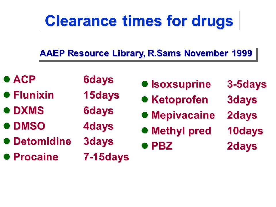 Clearance times for drugs ACP6days ACP6days Flunixin15days Flunixin15days DXMS6days DXMS6days DMSO4days DMSO4days Detomidine3days Detomidine3days Procaine7-15days Procaine7-15days Isoxsuprine3-5days Ketoprofen3days Mepivacaine2days Methyl pred10days PBZ2days AAEP Resource Library, R.Sams November 1999