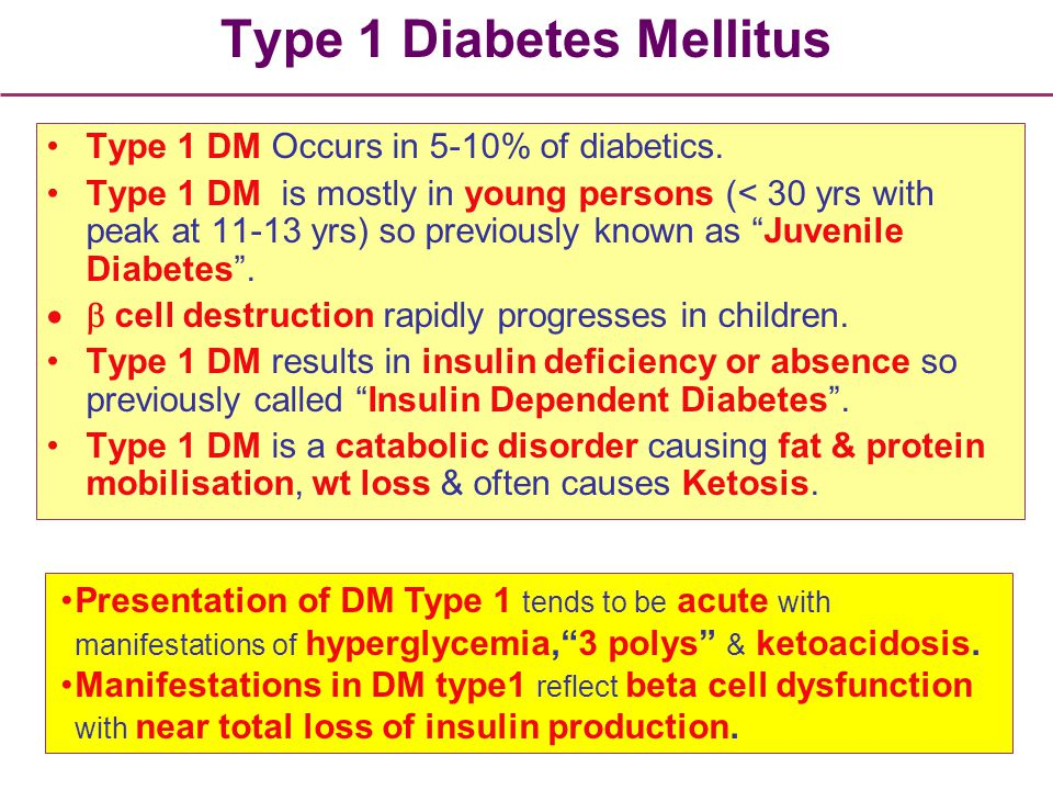 Type 1 Diabetes Mellitus Type 1 DM Occurs in 5-10% of diabetics. Type 1 DM is mostly in young persons (< 30 yrs with peak at 11-13 yrs) so previously