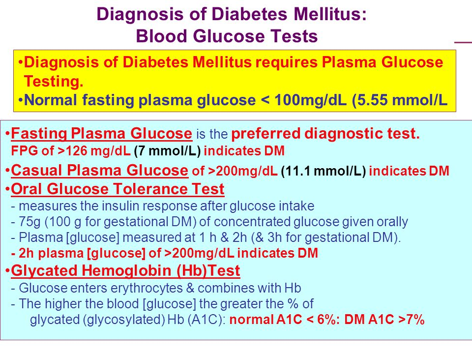 Diagnosis of Diabetes Mellitus: Blood Glucose Tests Fasting Plasma Glucose is the preferred diagnostic test. FPG of >126 mg/dL (7 mmol/L) indicates DM